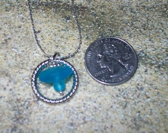 Delicate peacock blue sea glass circle necklace, free shipping within US