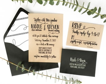 Scribble Wedding Invitation Suite - Wedding Invitation, RSVP, Address and Thank You Stamps - Custom Wedding Invite Invitation Stamp - H6700