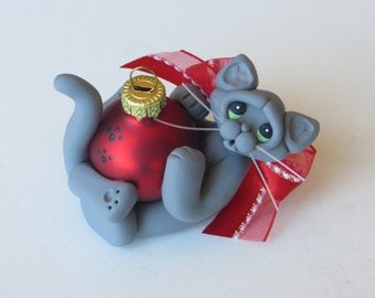 Russian Blue Gray Cat Christmas Ornament Polymer Clay