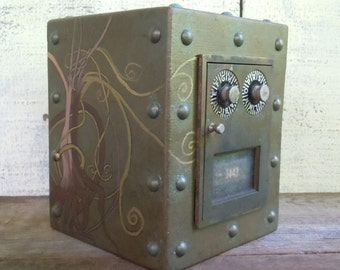 Post office Box Piggy Bank, Chester Mannly Faux Metal Look Reclaimed Wood with Funky Brass Door