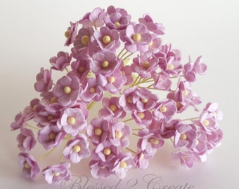 10 Itty Bitty Light Purple Sweetheart Blossom Mulberry Paper Flowers