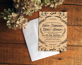 Kraft Paper Wedding Invitation, Nature Wedding Invitation, Rustic Wedding Invitation, Wedding Invitation Set, Printable Wedding Invitation