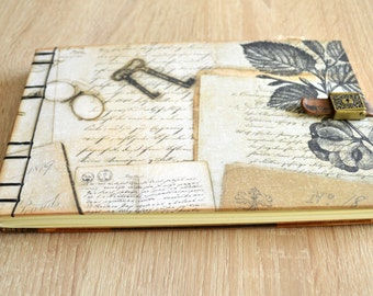 Coptic harcover journal vintage style, sketchbook, notebook, album , scrapbook, guest book