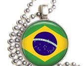 Brazil Flag Altered Art Pendant, Earrings and/or Keychain, Round Photo Silver and Resin Charm Jewelry, Flag Earrings, Flag Key Fob