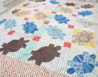 Handmade Quilt Top Patchwork Turtles Geometric