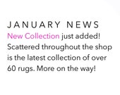 JANUARY NEWS. New Collection just added. Over 60 rugs + more on the way!