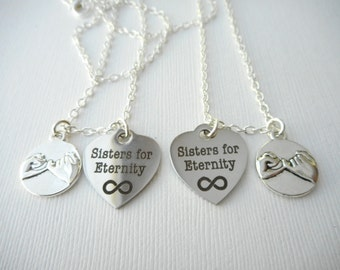 2 Pinky Promise, Sisters for Eternity- Best Friend Necklaces/ Big Sis Lil Sis, Sister Jewelry, Sister Necklace, Sister Gift, Sorority Gift