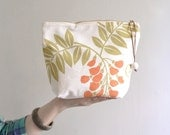 Simple makeup bag - medium cotton cosmetic bag. flower pattern pouch