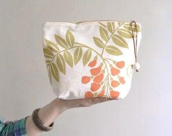 Simple makeup bag - medium cotton cosmetic bag. flower pattern pouch