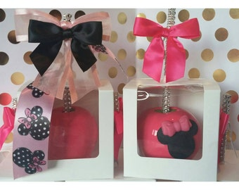 Minnie Mouse Hot Pink Candy Apples 12 per order
