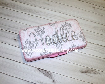 Custom Pink and Gray Damask Diaper Wipes Case (You Pick Accent Color)