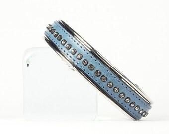 Silver cuff bracelet, Blue leather cuff bracelet, Crystal bracelet, CarolMade L12