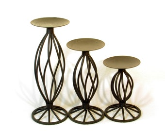 Set of Three Dark Metal Twist Candle Holders - Set of 3 Pillar Candleholders - Rustic French Country Vintage Home Lighting Accents Decor