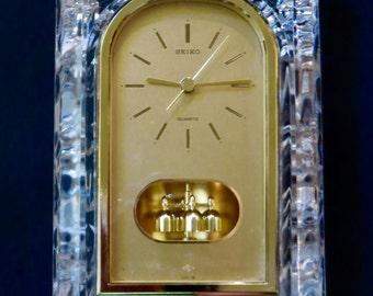 SEIKO Quartz Movement Crystal Glass Mantel Clock with Spinning Pendulum QQZ127S