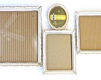Frame Collage Set of 4 Antique White and Brass, 8x10, 2/7x5, 4x5 Oval frame with Concave Glass, 4th frame available
