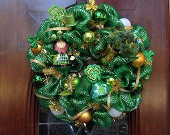 Leprechaun With His Pot Of Gold Wreath