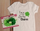 "I'm a Little Lucky Charm Onesie and Headband - St Patricks Day Onesie Set - Baby Girl Onesie - ""My First St Patricks Day"" Headband"