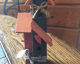 Primitive Birdhouse Ornament