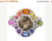 Valentines Day Sale Multicolor Rainbow Sapphire & Smoky Quartz Multi Shape Ring 925 Sterling Silver  : sku 1575-925