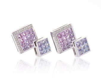 Multicolor Fancy Purple Sapphire & Diamond 18K Gold Earrings (4.41ct tw) SKU: 22659