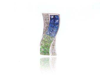 Multicolor Blue Sapphire, Tsavorite Green Garnet & Diamond Curved Pendant 18K Gold (2.54ct tw) SKU: 18254