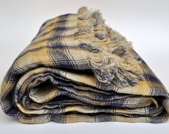 """Pure Linen Duplex Blanket Cover 55""""x79""""  SHIPPING Worldwide Valentine day gift  Blue  Yellow Checkered Throw APR162/140x200"""