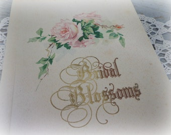 bridal blossoms / wedding register memories book / 1930's illustrated antique book / paper ephemera prop / vintage wedding decor