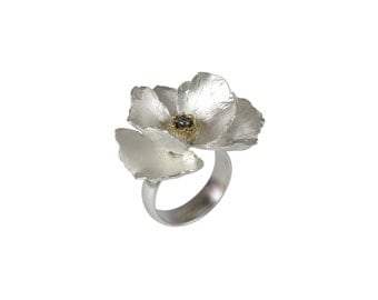 Sterling silver poppy ring - big flower