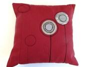 Crimson Red Appliqued Flower Pillow