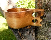 "Hand Carved Birch Kuksa with ""Two-Hole"" Handle"