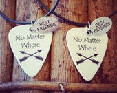 No Matter Where Best Friends necklaces set guitar pick charm matching friends forever BFF cross arrow set country Buddy Gift for girl or guy