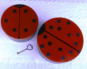 Hand Painted Ladybug Gift Boxes: Set of 2, Cupcakes, Cookies, Party Decor, Gifts, Garden Party, Craft Storage