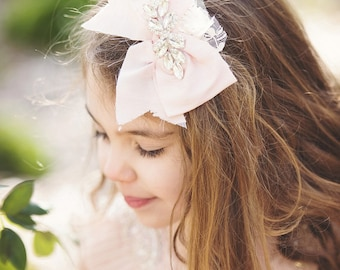 New! Silk Light pink Baby Pink Bow clip or headband dupioni silk bow baby girl bow with Crystals at the center or rosette