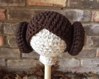 RTS Newborn size Space princess Crochet hat - Photo prop -double buns hat - princess baby hat - hat baby hat - RTS princess Leia beanie wig