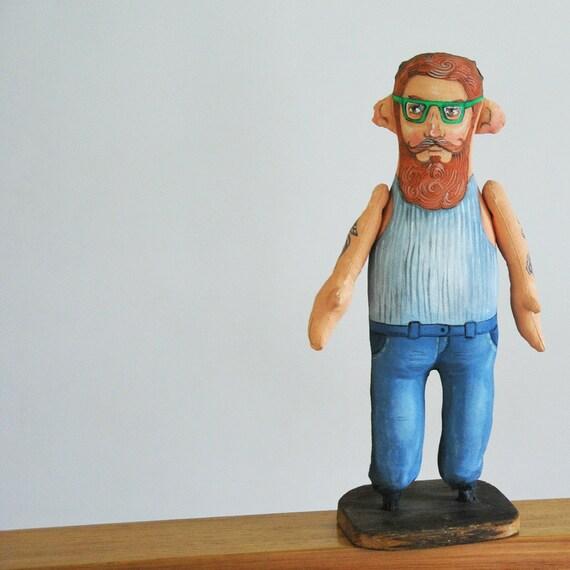 hipster, painted art doll - soft sculpture