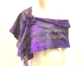 Lavender and  Lace Wool Wrap