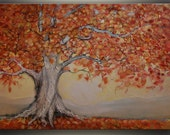 "Red Oak Tree Painting Landscape painting ORIGINAL art Painting Oil Painting Large Art Palette Knife Painting Tree Art 30x40"" - Tatjana Ruzin"