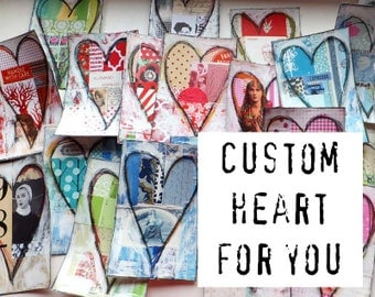 CUSTOM HEART Collage on Canvas by Helga Strauss - Custom Original Art - Pick Your Fave Colors and Themes!