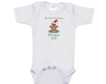 Customized Baby's First Christmas Onesie