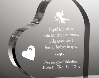 Engraved Cupid's Arrow Acrylic Heart