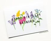 Grandma Birthday Card, Grandma Card, Floral Birthday Card, Happy Birthday Grandma, Floral Birthday Card, Gardening Card, Grandparents,Love