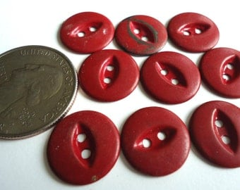 "9 Vintage Chippy Red Painted Metal Buttons 5/8"" Set Collection Lot"