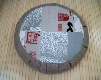 "Meditation Cushion. Zafu. Round Floor Pillow. Patchwork. Buckwheat Hulls. Cotton, Hemp and blend fabrics. 5""Sidewall Zipper. 15x5. USA made"