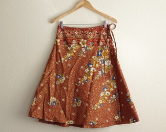 Vintage Red and Gold Floral Ethnic Adjustable A-Line High Waisted Wrap Skirt