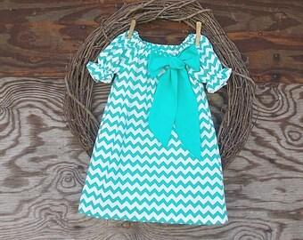 Girls Aqua Dress, Girls Aqua Chevron Dress, Girls Peasant dress, Turquoise dress, Fall dress