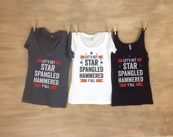 Let's Get Hammered AH Patriotic Bachelorette Party Tanks or Tees