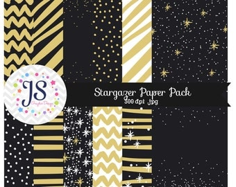 INSTANT DOWNLOAD, Black and Gold Digital Papers for personal and commercial use