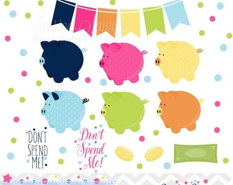80% OFF - INSTANT DOWNLOAD, piggy bank clipart and money saving vectors for personal and commercial use