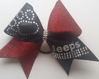 Spandex and Glitter Cheer bow with Rhinestone Paw Print and Detail