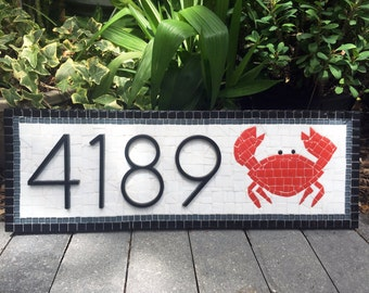 Address Plaque / Mosaic Address Sign / Crab House Numbers / Maryland Address Marker / Black, White, Red Address Sign